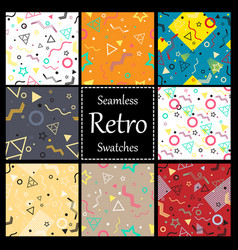 memphis style seamless patterns set vector image vector image