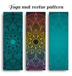 set of yoga mat pattern vector image