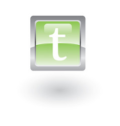 square glossy icon letter t vector image