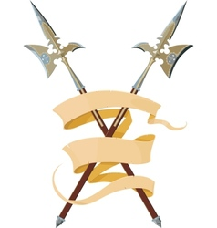 two crossed halberds with banner vector image vector image