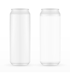 Two White Metal Aluminum Beverage Drink Can 500ml vector image