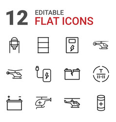 12 fuel icons vector image