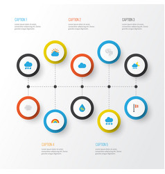 Air flat icons set collection of drizzles cloud vector