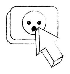 arrow cursor with emoticon surprise button icon vector image