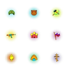 Attractions of Russia icons set pop-art style vector