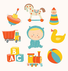 Baby boy with toys ball blocks rubber duck vector