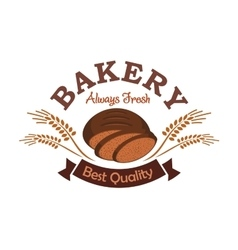 Bakery shop label emblem with rye sliced bread vector image vector image