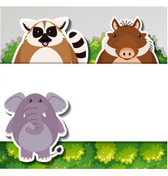 Banner template with cute animals vector