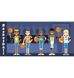 basketball team on podium awarding vector image