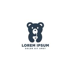 Bear drinking juice logo template icon element vector