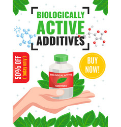 Biological active additives advertising poster vector