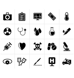 Black medical tools and health care equipment icon vector