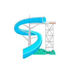 blue aquapark water slide icon vector image