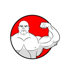 Bodybuilder with big muscles Emblem gym Logo for vector