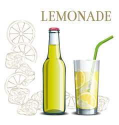bottle of lemonade and a glass on the background vector image