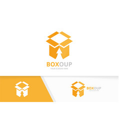 Box and arrow up logo combination package vector