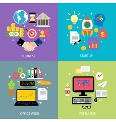 Business types concept flat vector