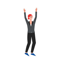business woman rising her hands up and cheering vector image