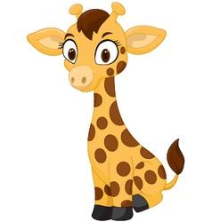 Cartoon baby giraffe sitting vector