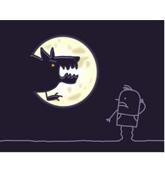 Cartoon characters - werewolf moon vector
