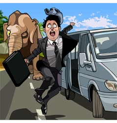 cartoon frightened man in a suit running away from vector image