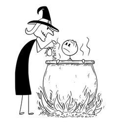 cartoon of man boiled by evil witch in cauldron vector image