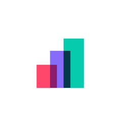 colorful bar chart overlap logo icon vector image
