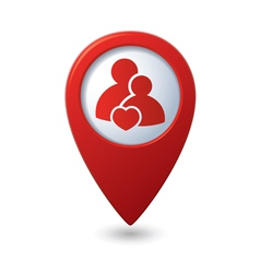 Couple icon with heart map pointer vector