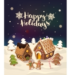 Cristmas Background with gingerbread houses candy vector