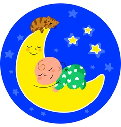 Cute baby asleep on the moon vector