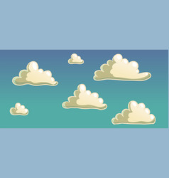 cute cartoon clouds and blue gradient sky vector image