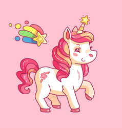 Cute fairy unicorn cartoon rainbow pony funny vector