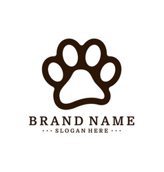 Dog foot logo design template dog icon logo vector