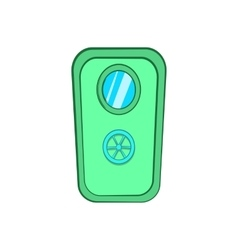Door with window and lock wheel icon cartoon style vector