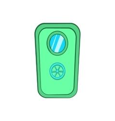 Door with window and lock wheel icon cartoon style vector image