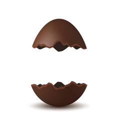 Easter broken egg 3d chocolate brown open egg vector