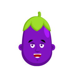 eggplant happy emotion avatar purple vegetable vector image