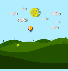 empty meadow cartoon with paper cut clouds and sun vector image