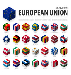 european union and membership eu 3d cubic flag vector image
