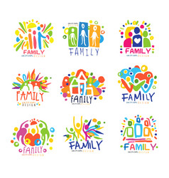 family colorful labels original design set of vector image