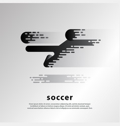 flying kick soccer player flat abstract soccer vector image