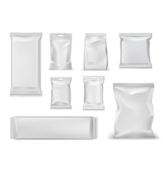 foil bag packs white sachet pouch doy package vector image