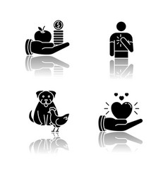 Friendly support drop shadow black glyph icons vector