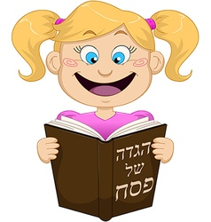 Girl Reading From Haggadah For Passover vector image