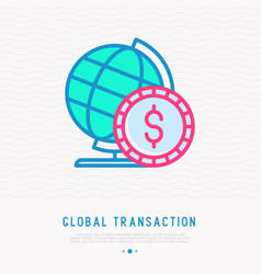 global transaction thin line icon vector image