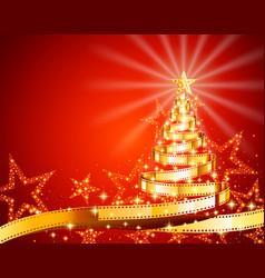 golden film strip christmas tree vector image