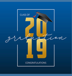 Graduation greeting card class 2019 - banner vector