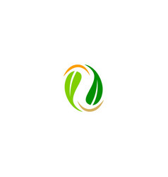 green leaf circle organic nature logo vector image