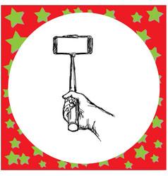 hand holding selfie stick sketch vector image
