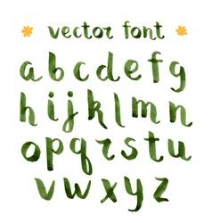 Handmade ink green alphabet vector image